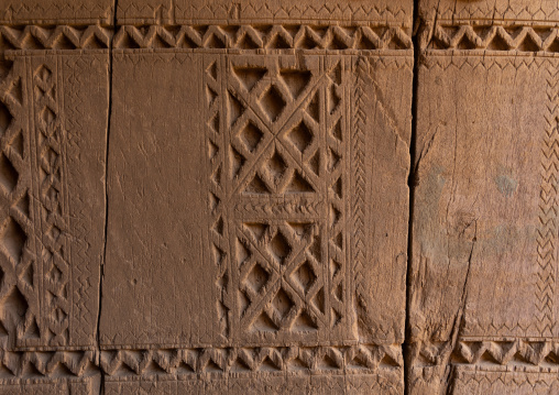 Detail of an old wooden door in Allajam village, Najran Province, Najran, Saudi Arabia