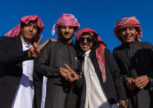 Portrait of young saudi men in traditional clothing, Najran Province, Najran, Saudi Arabia
