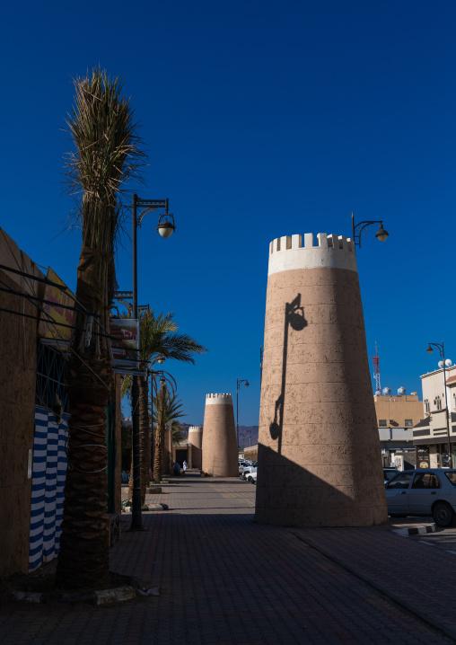 Towers along the main street, Najran Province, Najran, Saudi Arabia