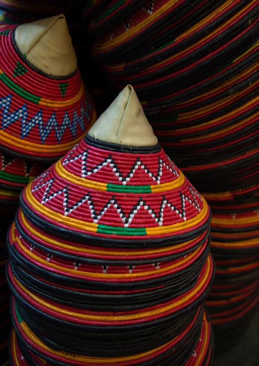Colorful traditional basketry used to cover plates, Najran Province, Najran, Saudi Arabia