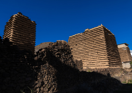 Stone and mud houses with slates, Asir province, Sarat Abidah, Saudi Arabia