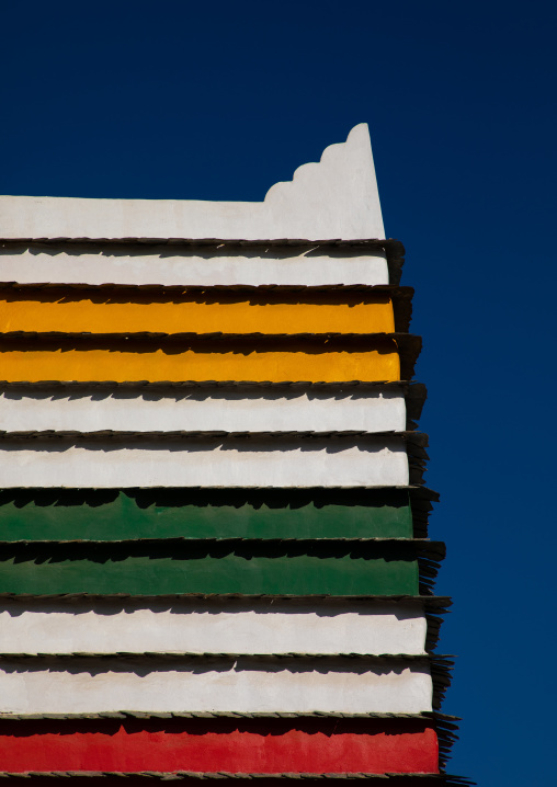 Bin Hamsan house with its bright colours, Asir province, Khamis Mushait, Saudi Arabia