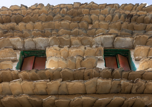 Stone and mud house with slates in al-Basta disctrict, Asir province, Abha, Saudi Arabia