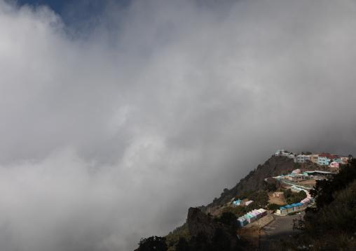 Mountainous village in the fog, Asir province, Abha, Saudi Arabia