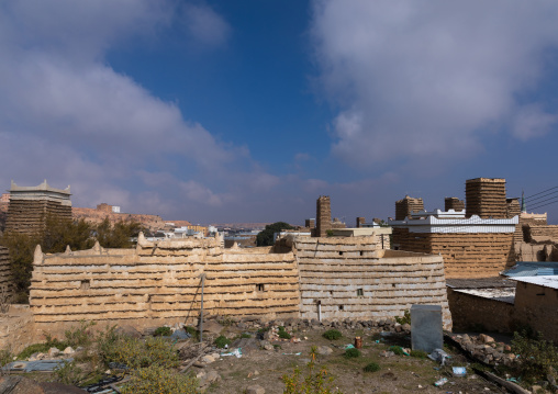 Stone and mud houses with slates in al Khalaf village, Asir province, Sarat Abidah, Saudi Arabia