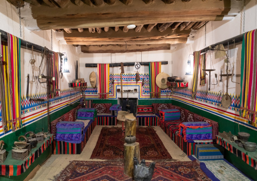 Decoration and design inside a traditional house, Asir province, Al-Namas, Saudi Arabia