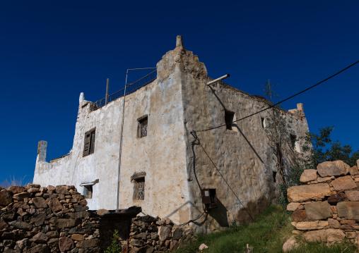 Old traditional house against blue sky, Asir province, Abha, Saudi Arabia