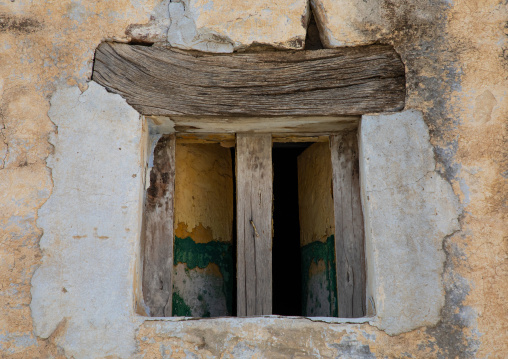 Wooden window of an old house, Asir province, Abha, Saudi Arabia