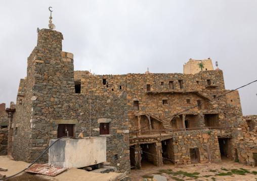 Old mosque built in stones in heritage village, Asir province, Al Olayan, Saudi Arabia