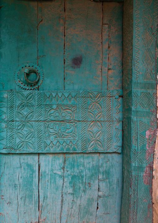 Old green wooden door, Asir province, Al Olyyan, Saudi Arabia