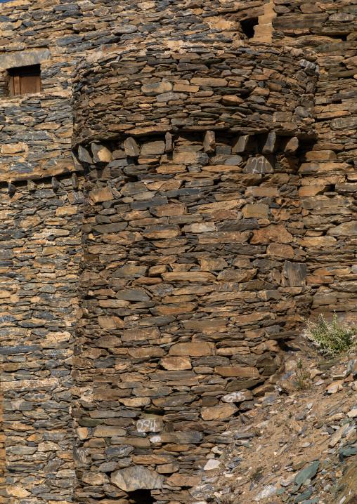 Stone tower in Dhee Ayn marble village, Al-Bahah region, Al Mukhwah, Saudi Arabia