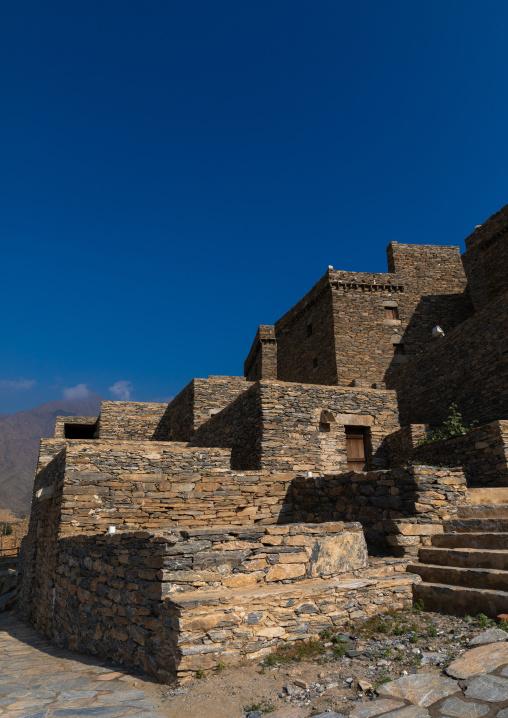 Stone house in Dhee Ayn marble village, Al-Bahah region, Al Mukhwah, Saudi Arabia