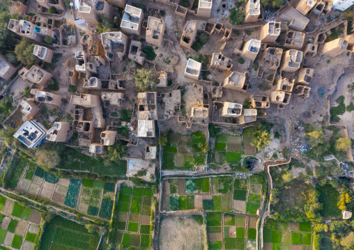 Aerial view of an old village with traditional mud houses, Asir province, Dhahran Al Janub, Saudi Arabia