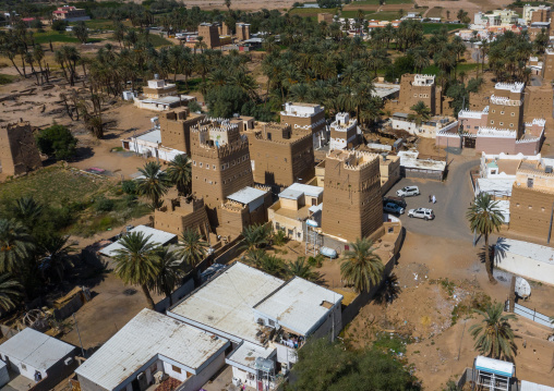 Aerial view of an old village with traditional mud houses, Najran Province, Najran, Saudi Arabia
