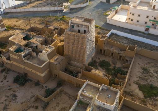 Aerial view of stone and mud houses with slates, Asir province, Ahad Rufaidah, Saudi Arabia