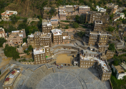 Rijal Almaa heritage village aerial view, Asir province, Rijal Alma, Saudi Arabia