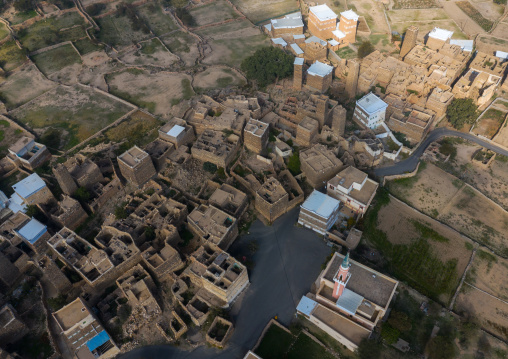 Aerial view of stone and mud houses with slates in al Khalaf village, Asir province, Sarat Abidah, Saudi Arabia