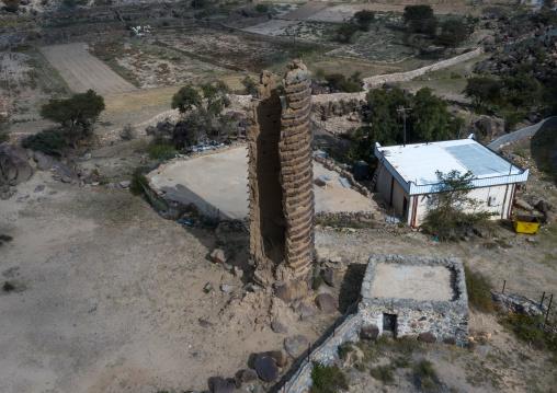 Aerial view of stone and mud watchtower in al Khalaf village, Asir province, Sarat Abidah, Saudi Arabia