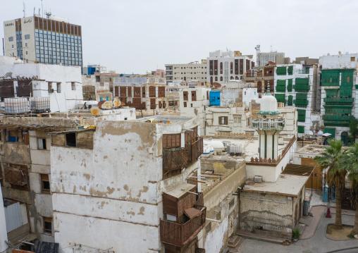 Aerial view of old houses with wooden mashrabiyas in al-Balad quarter, Mecca province, Jeddah, Saudi Arabia
