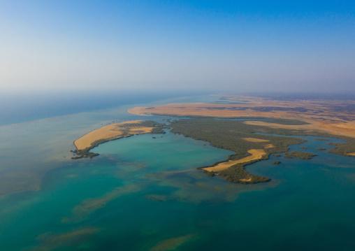 Red sea coast aerial view, Mecca province, Al Qunfudhah, Saudi Arabia