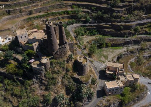 Aerial view of traditional stone watchtowers, Jizan Province, Addayer, Saudi Arabia