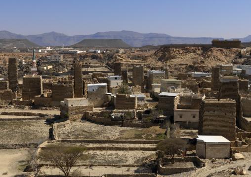 Traditional clay and silt homes in a village, Asir province, Ahad Rufaidah, Saudi Arabia