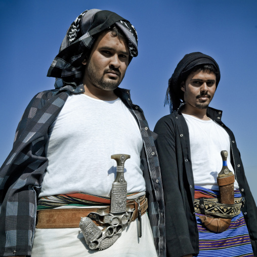 Portrait of flower men wearing a floral crown on the head, Jizan province, Addayer, Saudi Arabia