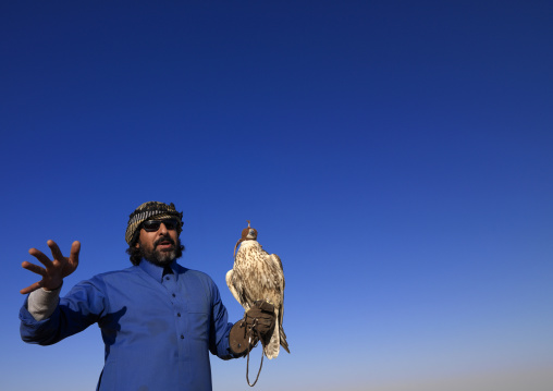 Falconry in the desert, Al-Jawf Province, Sakaka, Saudi Arabia