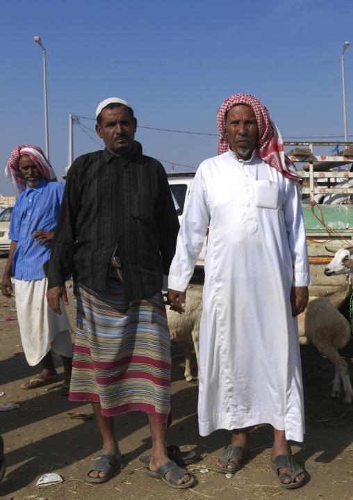 Saudi men in a market, Jizan Province, Sabya, Saudi Arabia