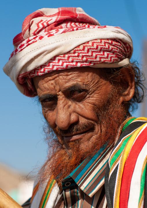 Portrait of an asiri old man with red beard, Asir province, Al Farsha, Saudi Arabia