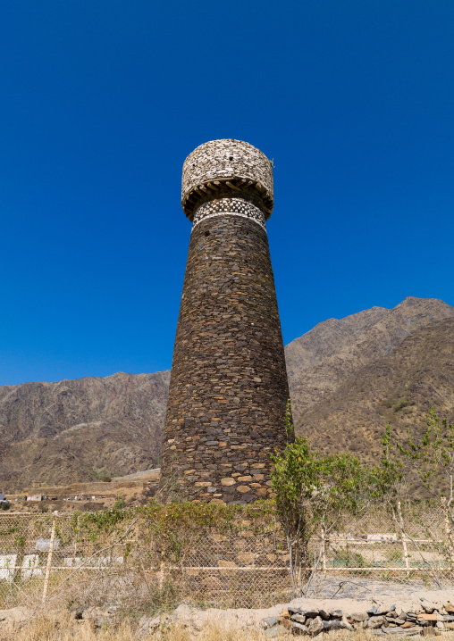 Watchtower used as a granary in rijal alma traditional village with typical aseeri architecture, Rijal Almaa Province, Rijal Alma, Saudi Arabia