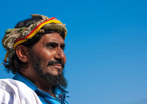 Portrait of an asiri flower man, Asir province, Al Farsha, Saudi Arabia