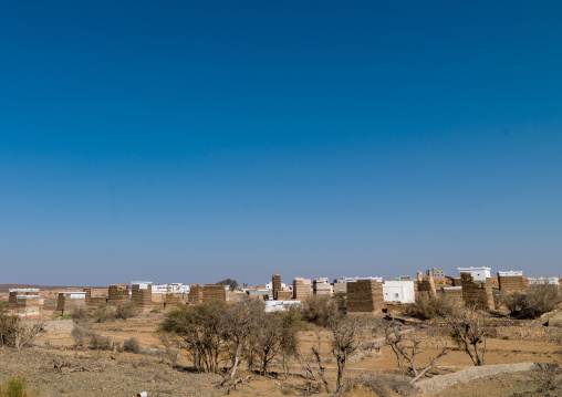 Traditional clay and silt homes in a village, Asir Province, Al Osran, Saudi Arabia