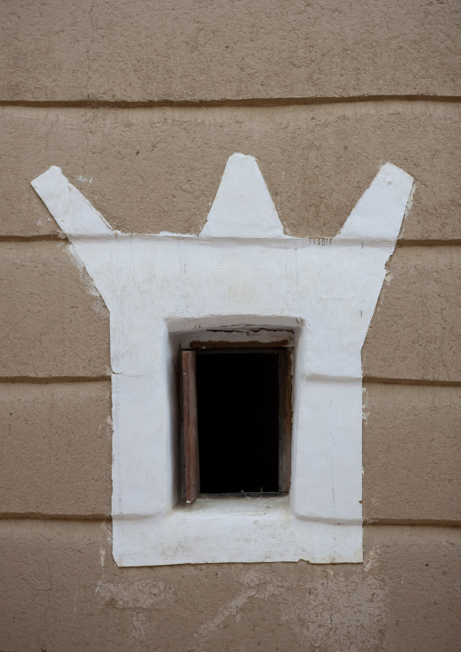 Emarah palace window in Aba Alsaud historical area, Najran Province, Najran, Saudi Arabia
