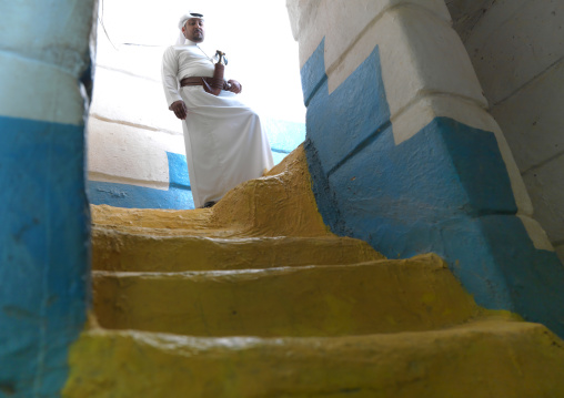 Colorful decoration inside a traditional house, Najran Province, Najran, Saudi Arabia