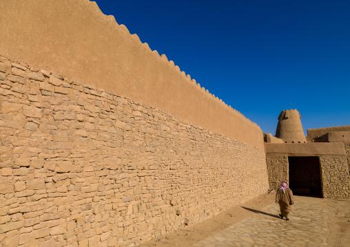Stone and mud-brick qasr marid wall, Al-Jawf Province, Dumat Al-Jandal, Saudi Arabia