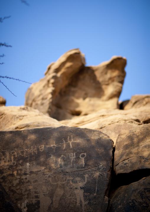 Petroglyphs rock art depicting women, Najran Province, Abar Himma, Saudi Arabia
