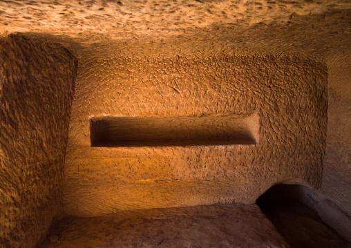 Inside a nabataean tomb in madain saleh archaeologic site, Al Madinah Province, Al-Ula, Saudi Arabia