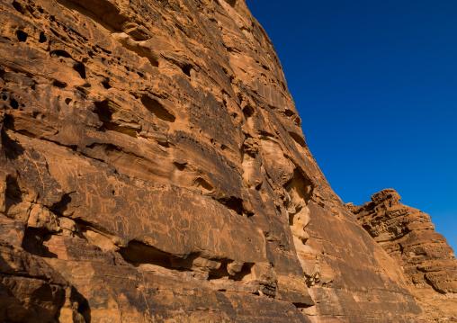 Petroglyphs in the mountain depicting horses and camels, Al Madinah Province, Al-Ula, Saudi Arabia
