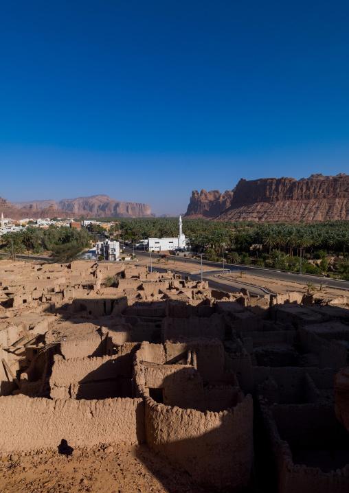 Elevated view of al-ula old town and oasis, Al Madinah Province, Al-Ula, Saudi Arabia