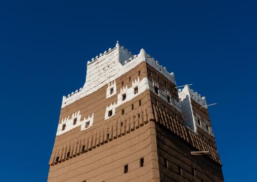 Tower of a traditional mud-bricks house, Najran Province, Najran, Saudi Arabia