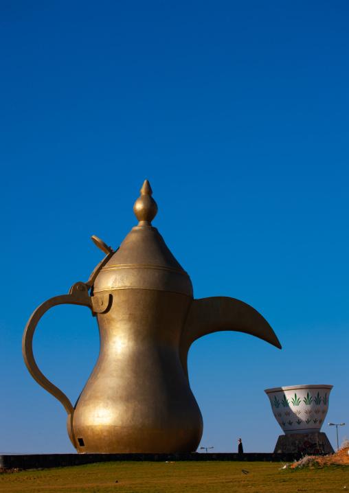 Giant coffeepot along a higway, Al-Jawf Province, Qarah, Saudi Arabia