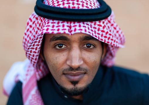 Portrait of a saudi man wearing a kaffiyeh, Al-Jawf Province, Sakaka, Saudi Arabia