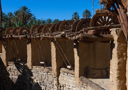 Wooden wheels in the ancient haddaj well, Tabuk province, Tayma, Saudi Arabia