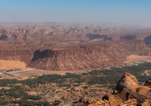Elevated view of al-ula town and oasis, Al Madinah Province, Al-Ula, Saudi Arabia