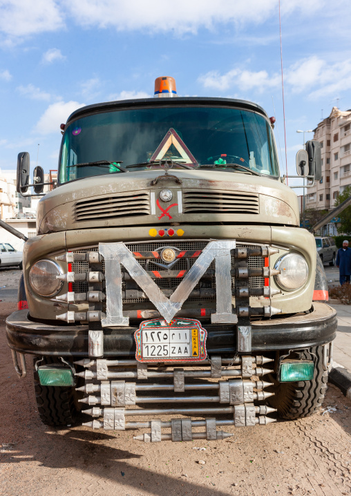 Decorated truck in the street, Makkah province, Taif, Saudi Arabia