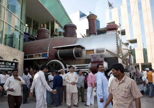 Steam train decoration in commercial center, Mecca province, Jeddah, Saudi Arabia