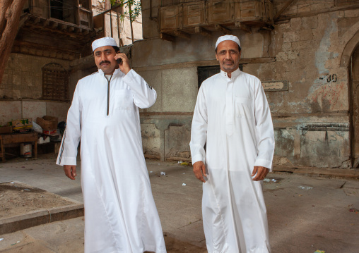Saudi men in the street, Hijaz Tihamah region, Jeddah, Saudi Arabia