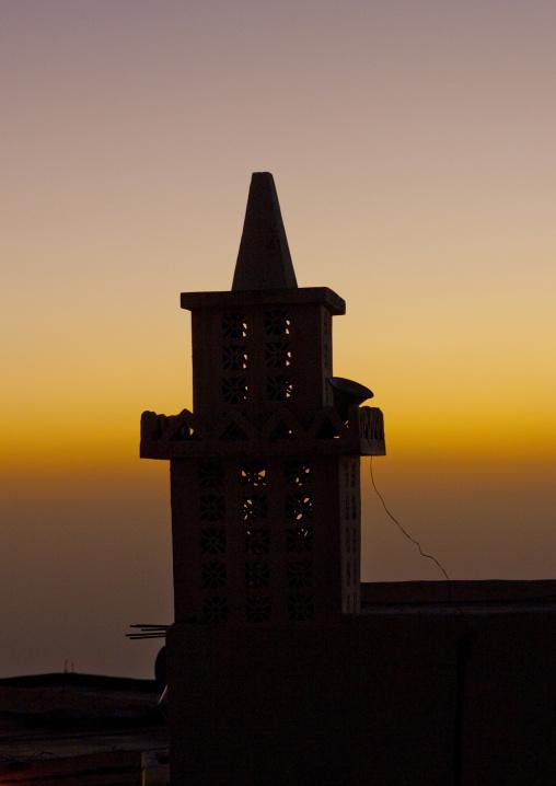 Mosque minaret at sunset, Fifa Mountains, Al-Sarawat, Saudi Arabia