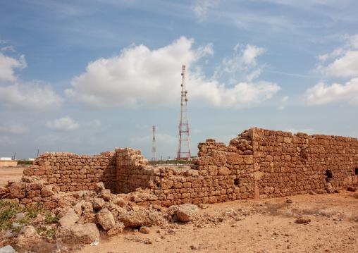 Mobile phones antennas in front of old walls, Jizan Region, Farasan island, Saudi Arabia